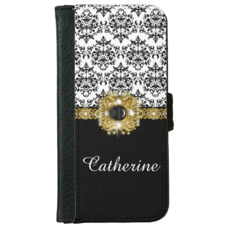 Girls black white damask gems name iPhone 6 wallet case
