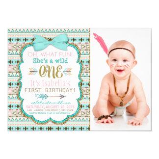 Girls Boho Tribal Wild One 1st Birthday Party 13 Cm X 18 Cm Invitation Card