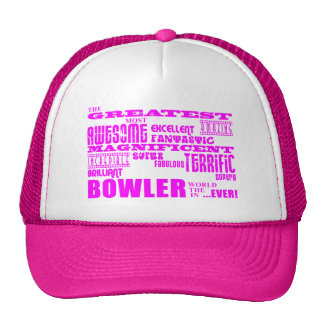 Girls Bowlers : Pink Greatest Bowler Mesh Hats