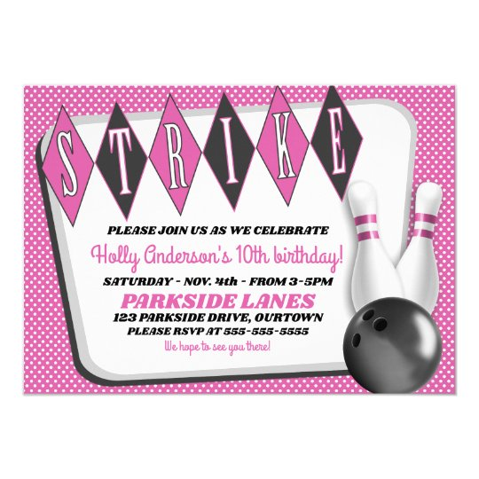 Girl's Bowling Birthday Party Invitation