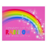 Girls bright rainbow dreams pink sky poster
