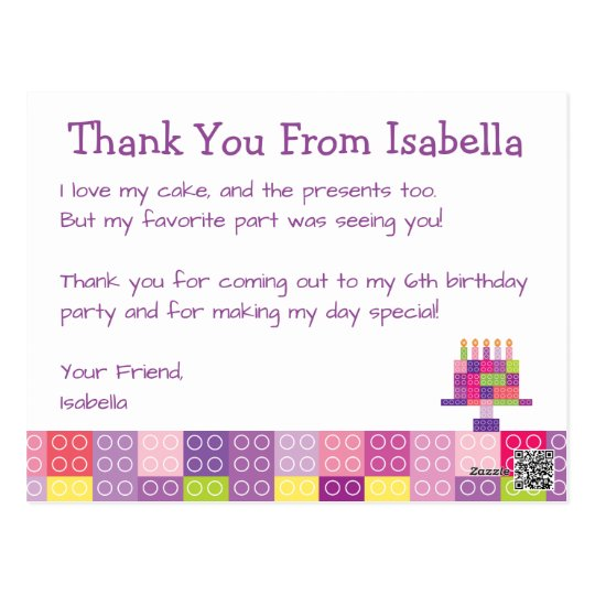 Girl's Building Bricks Blocks Birthday Thank You Postcard