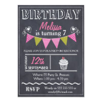 12th birthday invitations announcements zazzle girls bunting chalkboard birthday party invitation filmwisefo Image collections