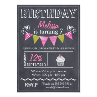 Girls Bunting Chalkboard Birthday Party Invitation