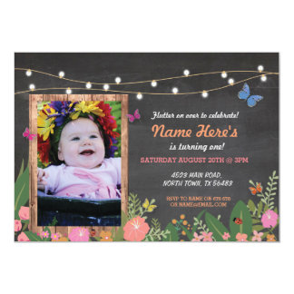 Girl's Butterfly Floral Birthday Rustic Garde 13 Cm X 18 Cm Invitation Card