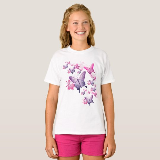Girl's Butterfly Short Sleeve Top