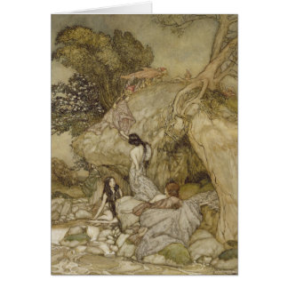 Girls by a Stream Greeting Card