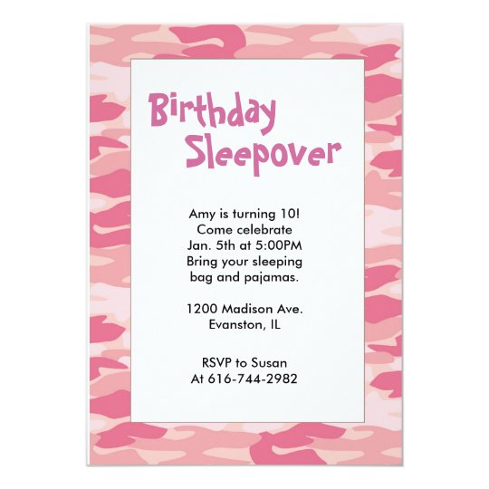 Girls Camo Pink Birthday Sleepover Invitation