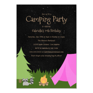 Girls Camping Party | Birthday Party Invitation
