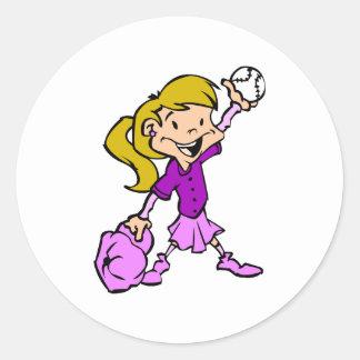 Girls can play baseball round sticker