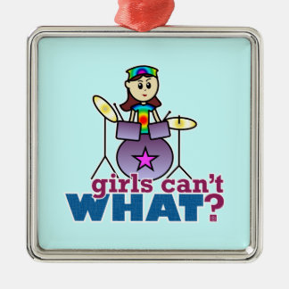 Girls Can't WHAT? Drummer Christmas Ornament