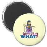 Girls Can't WHAT? Drummer Girl Logo 6 Cm Round Magnet