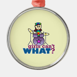 Girls Can't WHAT? Drummer Girl Logo Christmas Ornament