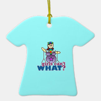 Girls Can't WHAT? Drummer Girl Logo Christmas Ornaments