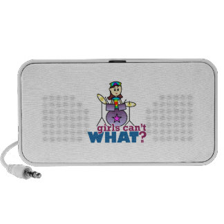 Girls Can't WHAT? Drummer Girl Logo Travel Speakers