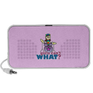 Girls Can't WHAT? Drummer Girl Logo iPod Speakers