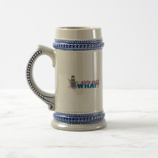 Girls Can't WHAT? Girl Drummer Logo Beer Stein