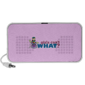 Girls Can't WHAT? Girl Drummer Logo iPhone Speakers