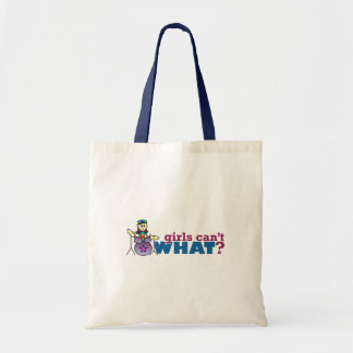 Girls Can't WHAT? Girl Drummer Logo Tote Bag