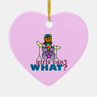Girls Can't WHAT? Girl Playing Drums Christmas Ornaments