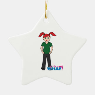 Girls Can't What - Light/Red Christmas Tree Ornament