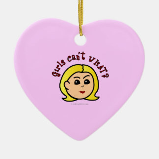 Girls Can't WHAT? Logo Head-Blonde Christmas Ornaments