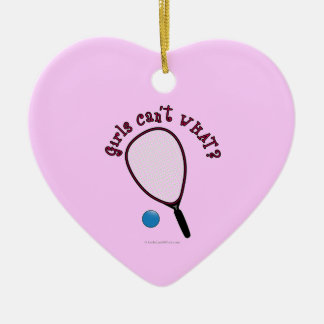 Girls Can't WHAT? Raquetball Ceramic Heart Decoration