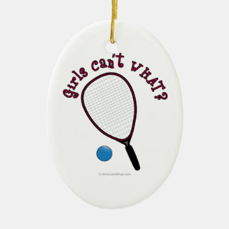 Girls Can't WHAT? Raquetball Ceramic Oval Decoration