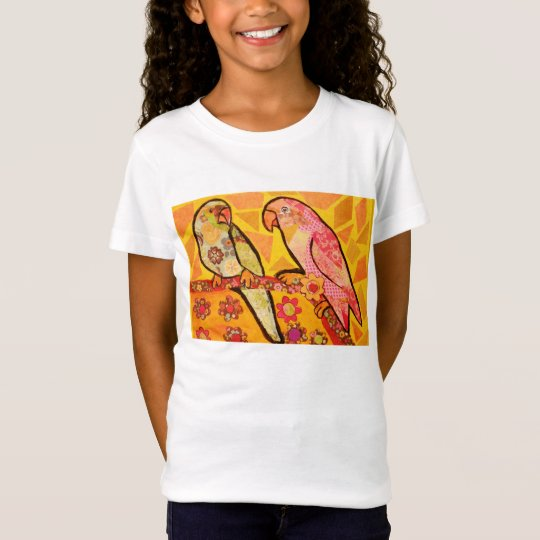 Girls Cap Sleeve T-Shirt with Cool Bird Design