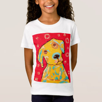 Girls Cap Sleeve T-Shirt with Curious Dog Design