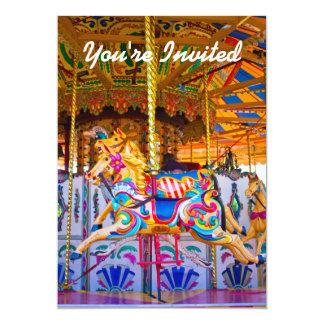 Girls Carousel Birthday Party Invitiation 13 Cm X 18 Cm Invitation Card
