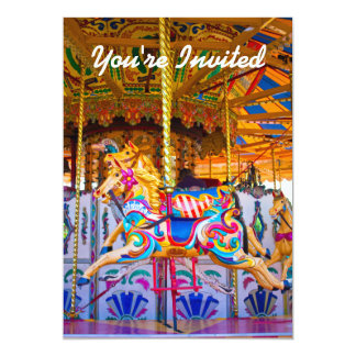 Girls Carousel Birthday Party Invitiation Card