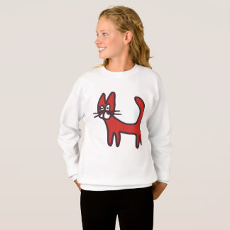 Girls Cartoon Red Cat Long Sleeve Shirt