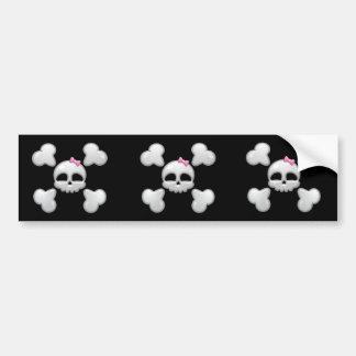 Girl's Cartoon Skull Bumper Sticker