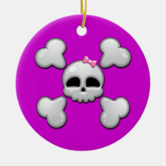 Girls Cartoon Skull Christmas Ornament