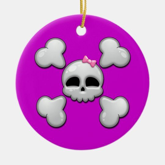 Girls Cartoon Skull Christmas Ornament