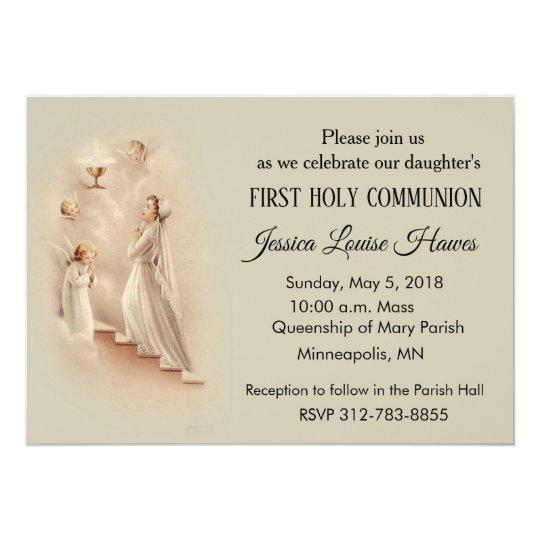 Girl S Catholic First Holy Communion Invitations Zazzle Co Uk