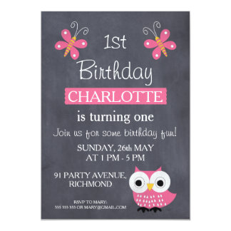 Girls Chalkboard Owl Birthday Party Invitation