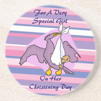Girls Christening Bird Beverage Coaster