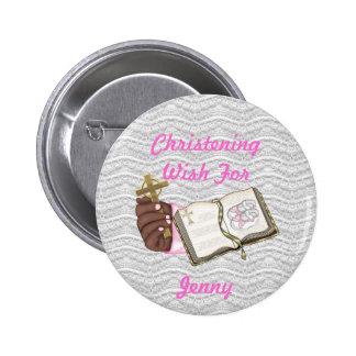 Girls Christening Book 6 Cm Round Badge