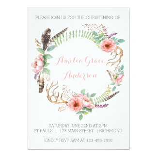 Girls Christening Invitation - Pink Floral
