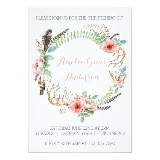 Girls Christening Invitation - Pink Floral