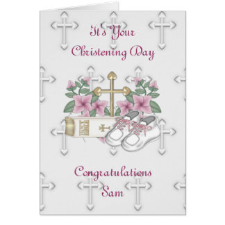 Girls Christening Shoes Greeting Card
