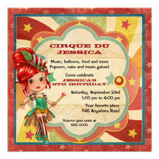 Girls Circus Birthday Invites