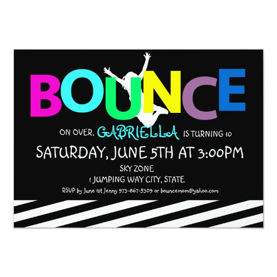 Girls Colourful Trampoline Bounce Party Invitation