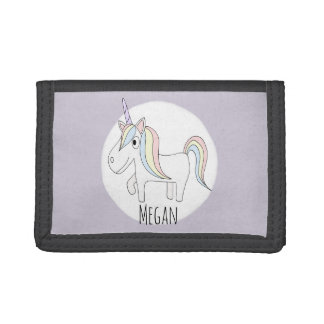 Girl's Cool Pink Doodle Unicorn & Name Children's Trifold Wallets