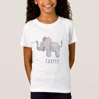 Girl's Cool Watercolor Elephant Safari with Name T-Shirt