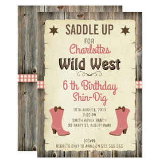 Girls Cowgirl Boots Wild West Birthday Invitation