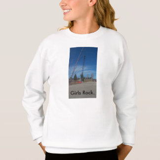Girl's Crew Neck Sweatshirt with Quote Girl's Rock