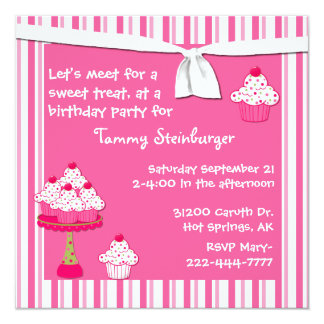 Girl's Cupcake Birthday Party Invitation